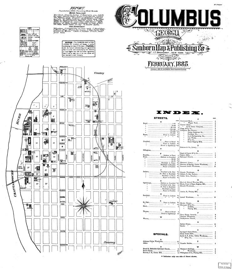 1885 Map of Columbus Georgia